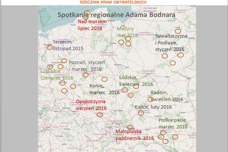 Mapa Polski z zaznaczonymi miejscami, gdzie był RPO: Szczecin, Podlasie i Suwalszczyzna, Poznań, Konin, Łódzkie, Kielce i Podkarpacie, Radom, Lubuskie, Mazury