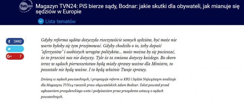 zdjęcie: fragment strony internetowej TVN24 z artykułem RPO
