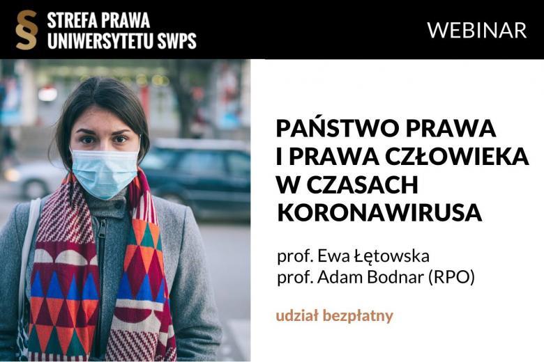 Plakat webinarium z kobietą w maseczce