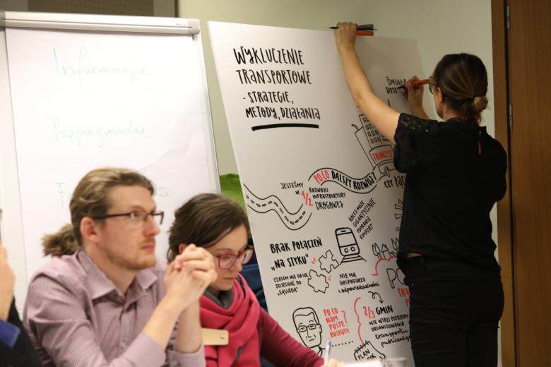 """Ludzie przy stole, kobieta rysuje na planszy z napisem """"Wykluczenie transportowe"""""""