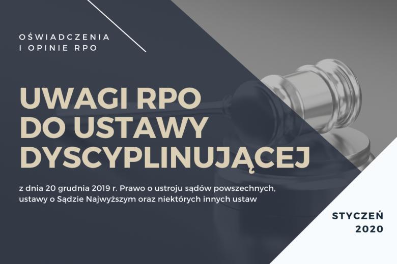 """granatowa plansza z napisem """"uwagi RPO do ustawy dyscyplinującej"""""""