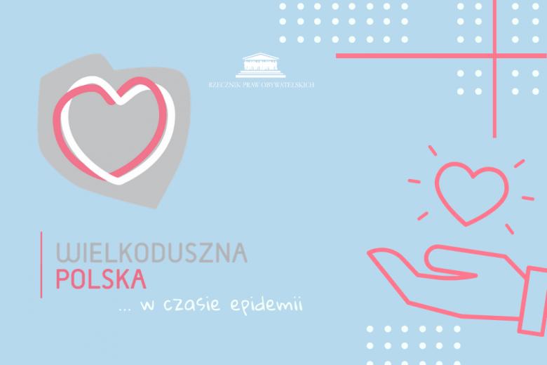Grafika z sercem wpisanym w kontur Polski i serce na dłoni