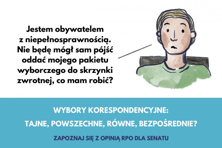 Grafika o wyborach korespondencyjnych, jak mają głosować niepełnosprawni?
