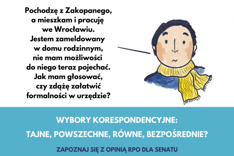 Grafika o wyborach korespondencyjnych, jak głosować poza miejscem zameldowania?