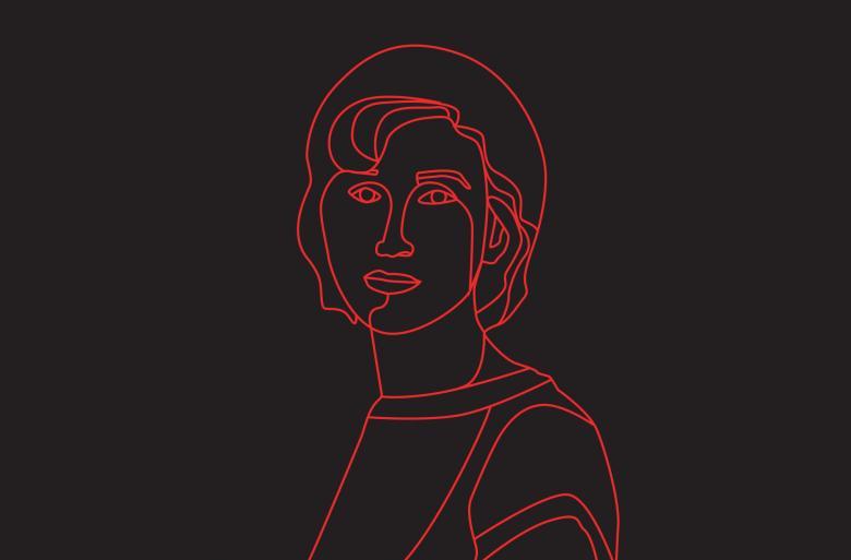 czarna plansza z sylwetką kobiety