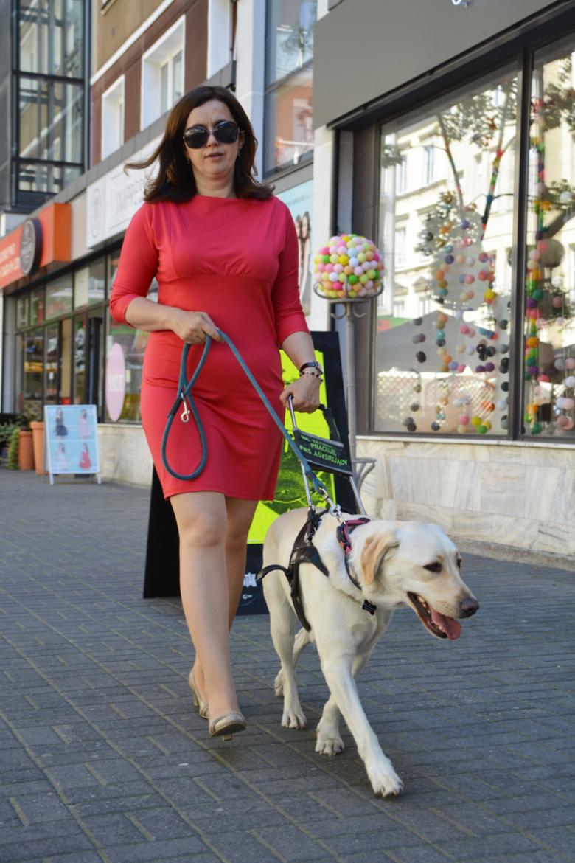 Kobieta z psem przewodnikiem