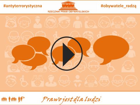 """Grafika: na pomarańczowym tle symbole wymiany opinii i znak """"play"""""""