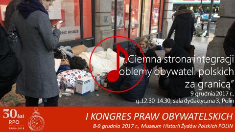 Mem ze zdjęciem RPO Adama Bodnara rozmawiającego w Paryżu z polskimi bezdomnymi, znak odtwarzania dźwięku