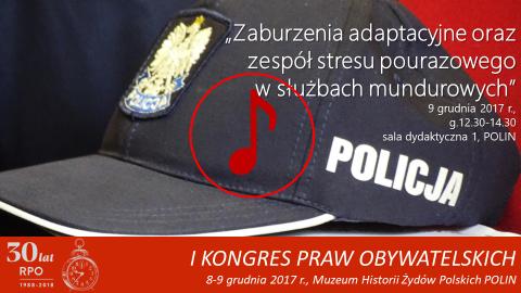 Mem ze zdjęciem czapki policyjnej, znak odtwarzania dźwięku