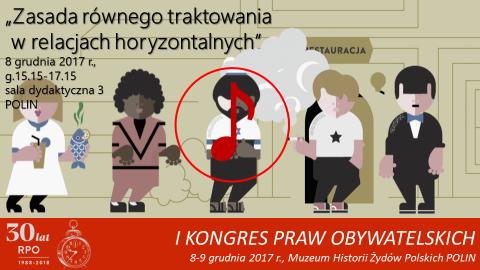 Mem z grafiką przedstawiającą sylwetki ludzi, symbol odtwarzania dźwieku