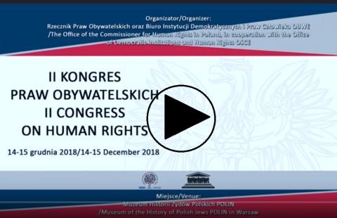 Plansza z napisem II Kongres Praw Obywatelskich i znak Play