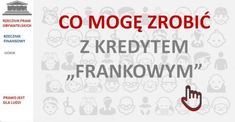 """Grafika z napisem CO MOGĘ ZROBIĆ Z KREDYTEM """"FRANKOWYM""""?"""