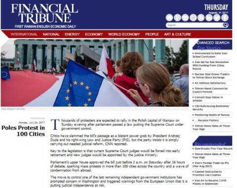 zdjęcie: fragment strony internetowej Financial Tribune