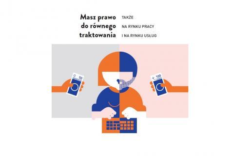 Grafika: pomarańczowo-granatowa postać przecięta na pół – część symbolizuje kobietę, część mężczyznę, osoba pracuje przy komputerze, przy części kobiecej jest wyciągnięta ręka z 50 zł, przy męskiej – 100 zł