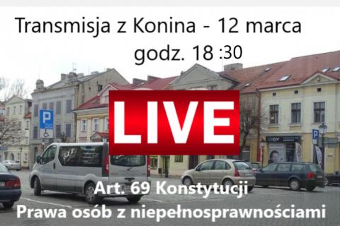 Zdjęcie z informacją o transmisji i czerwonym znakiem LIVE