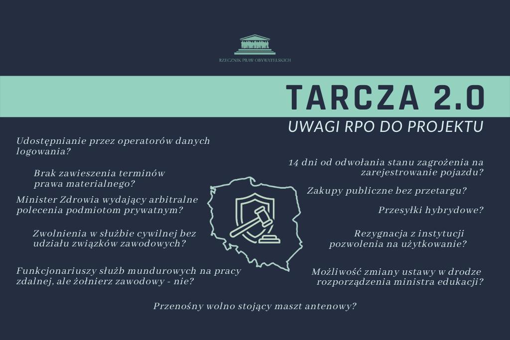 granatowa plansza z zielonymi napisami i symbolem Polski z tarczą