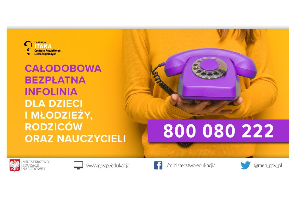 Grafika: na żółtym tle fioletowy telefon i numer 800080222