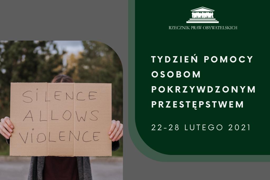 zielona plansza z kobietą trzymającą kartkę z napisem: obojętność rodzi przemoc