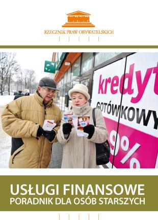 Okładka ze zdjęciem seniorów pod witryną z plakatem Kredyty gotówkowe
