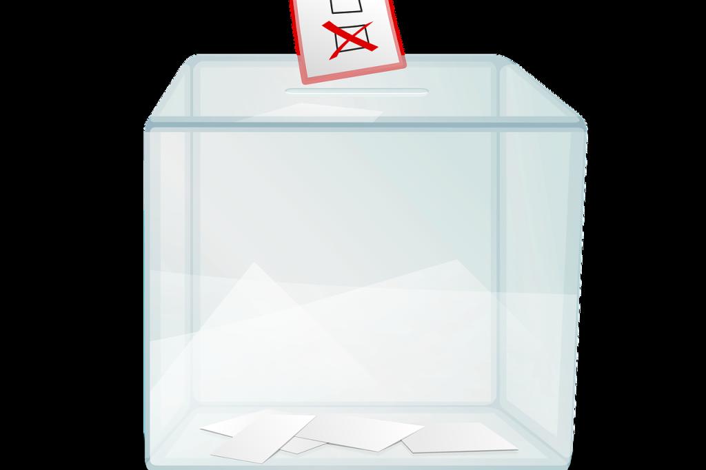 Grafika: biało-czerwona urna wyborcza